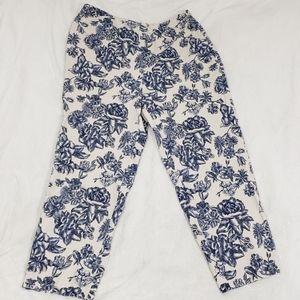 Talbots Blue Roses Floral Pattern Dress Pants